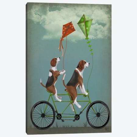 Beagle Tandem Canvas Print #FNK508} by Fab Funky Canvas Print