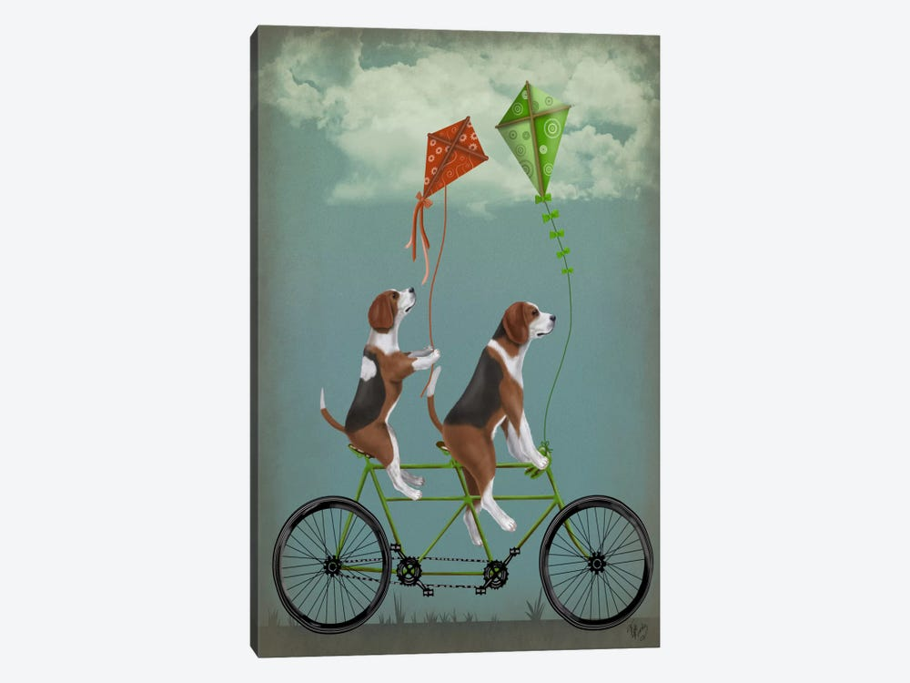 Beagle Tandem by Fab Funky 1-piece Canvas Artwork