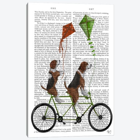 Beagle Tandem, Print BG Canvas Print #FNK509} by Fab Funky Canvas Print