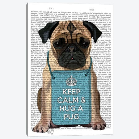 Hug A Pug Canvas Print #FNK50} by Fab Funky Canvas Wall Art