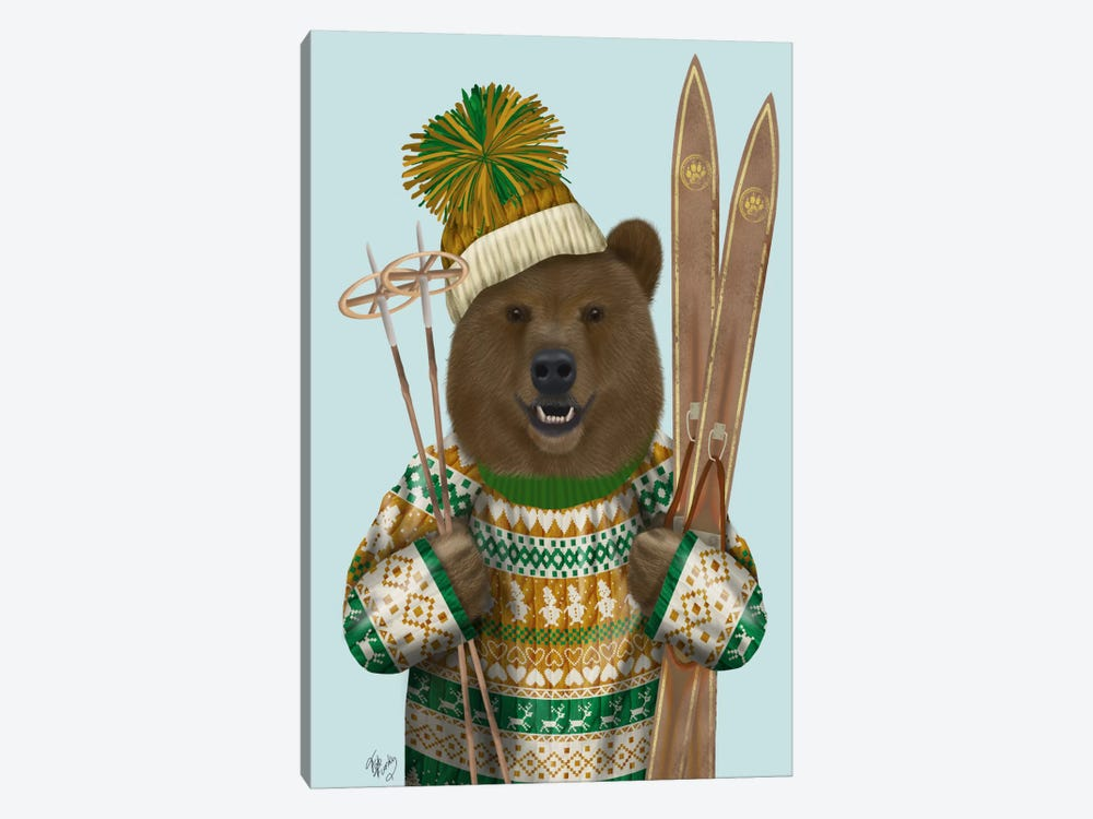 Bear in Christmas Sweater by Fab Funky 1-piece Art Print