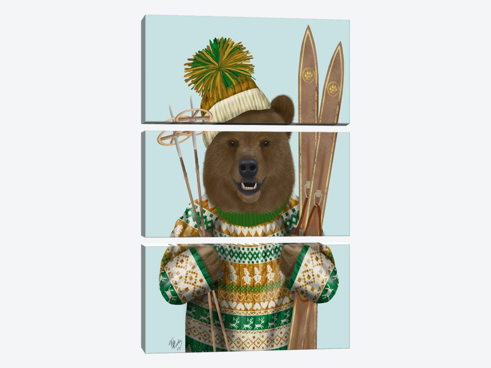 Bear in Christmas Sweater by Fab Funky 3-piece Canvas Print