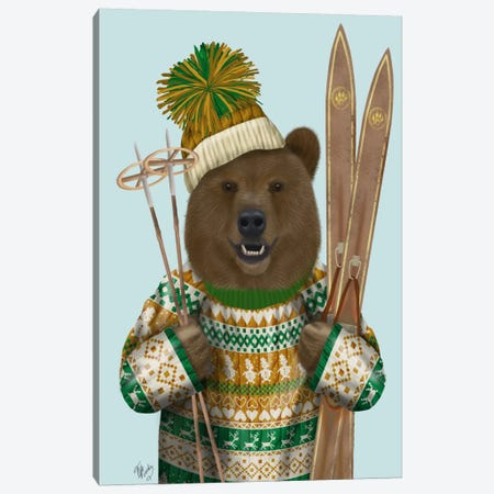 Bear in Christmas Sweater Canvas Print #FNK510} by Fab Funky Canvas Artwork