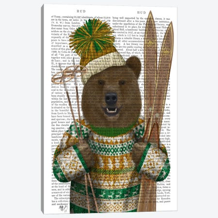 Bear in Christmas Sweater, Print BG Canvas Print #FNK511} by Fab Funky Canvas Wall Art