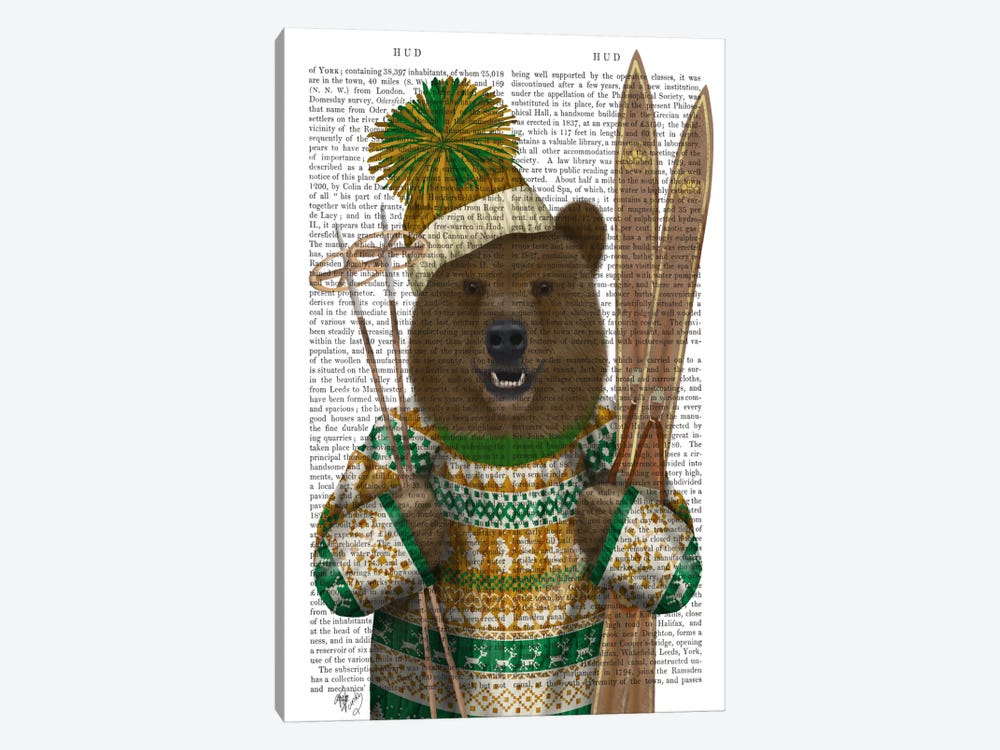 Bear in Christmas Sweater, Print BG by Fab Funky 1-piece Canvas Art