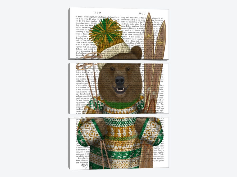 Bear in Christmas Sweater, Print BG by Fab Funky 3-piece Canvas Artwork