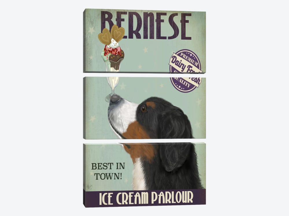 Bernese Ice Cream Parlour by Fab Funky 3-piece Art Print