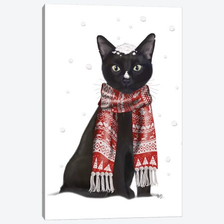 Black Cat, Red Scarf Canvas Print #FNK514} by Fab Funky Canvas Art Print
