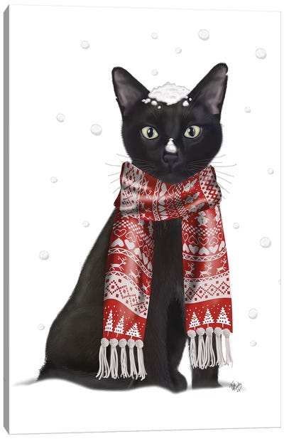 Black Cat, Red Scarf Canvas Art Print