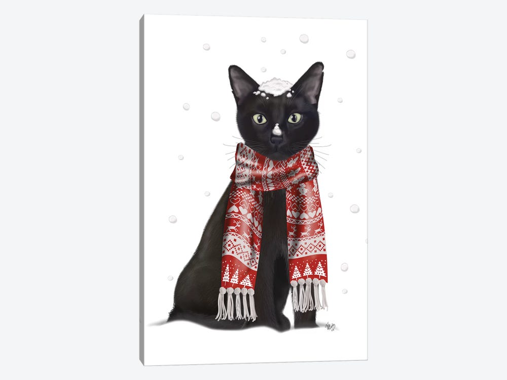 Black Cat, Red Scarf by Fab Funky 1-piece Canvas Print