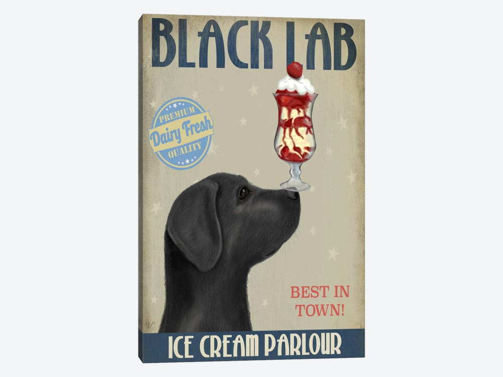 Black Labrador Ice Cream Parlour 1-piece Canvas Artwork