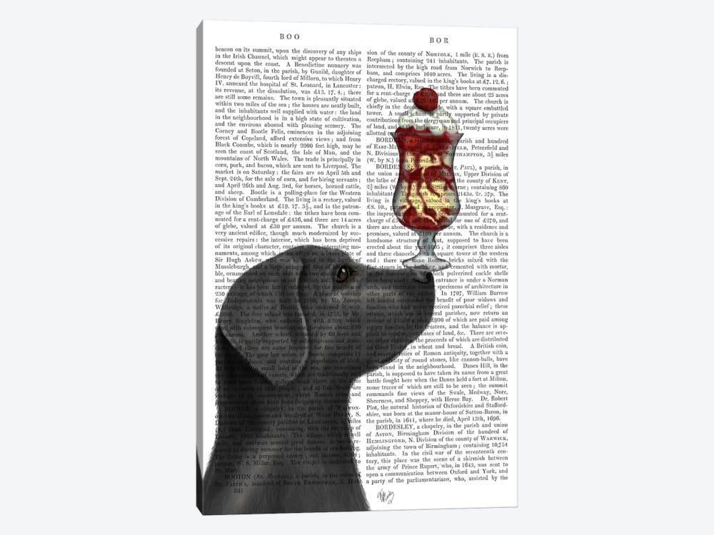 Black Labrador Ice Cream, Print BG by Fab Funky 1-piece Canvas Art Print
