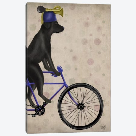 Black Labrador on Bicycle Canvas Print #FNK517} by Fab Funky Canvas Art Print