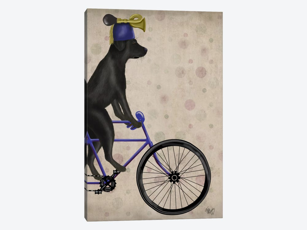 Black Labrador on Bicycle by Fab Funky 1-piece Canvas Artwork