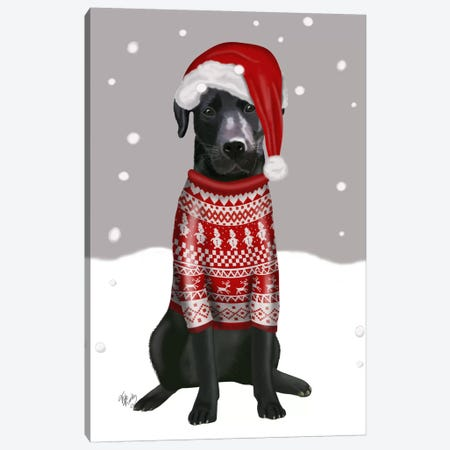 Black Labrador, Christmas Sweater I Canvas Print #FNK521} by Fab Funky Canvas Art Print