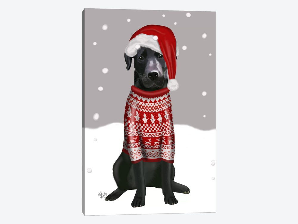 Black Labrador, Christmas Sweater I 1-piece Canvas Art Print