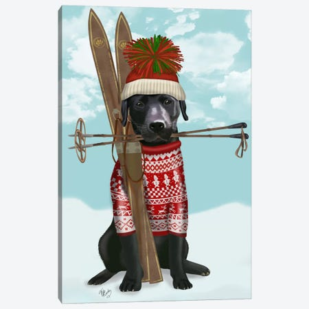 Black Labrador, Skiing Canvas Print #FNK522} by Fab Funky Art Print