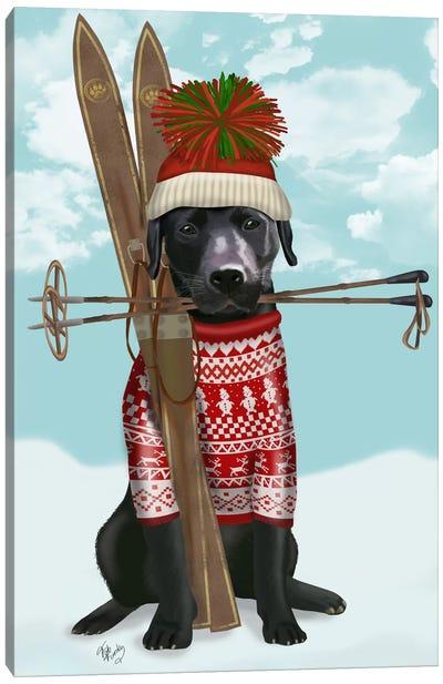 Black Labrador, Skiing Canvas Art Print