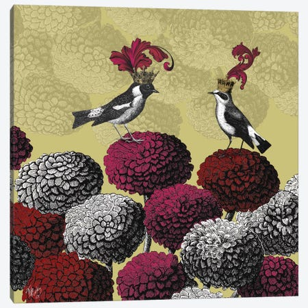 Blooming Birds, Chrysanthemum II Canvas Print #FNK525} by Fab Funky Canvas Wall Art