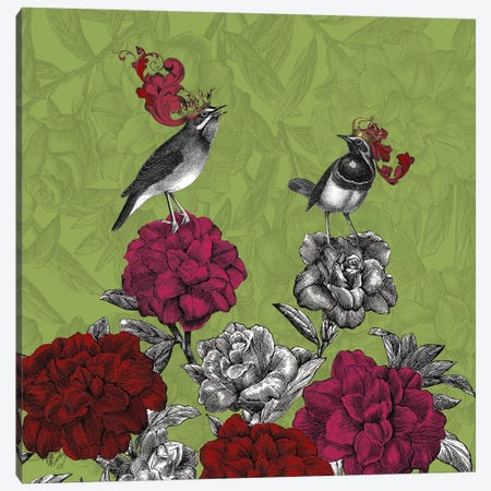 Blooming Birds, Rhododendron Canvas Print #FNK526} by Fab Funky Canvas Wall Art
