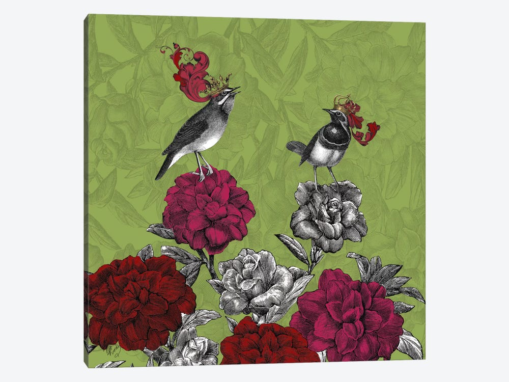 Blooming Birds, Rhododendron by Fab Funky 1-piece Canvas Art