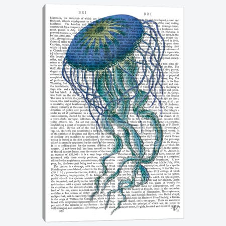 Blue Jellyfish I Canvas Print #FNK529} by Fab Funky Canvas Print