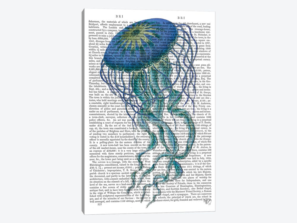 Blue Jellyfish I by Fab Funky 1-piece Canvas Print