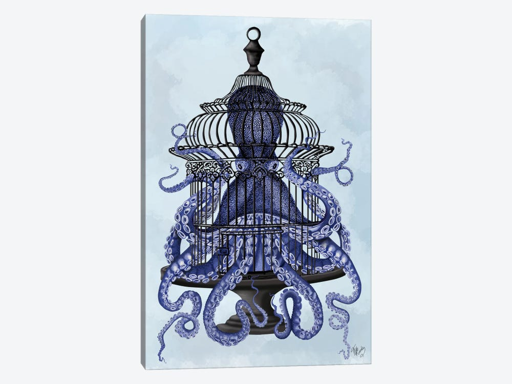 Blue Octopus in Cage by Fab Funky 1-piece Art Print