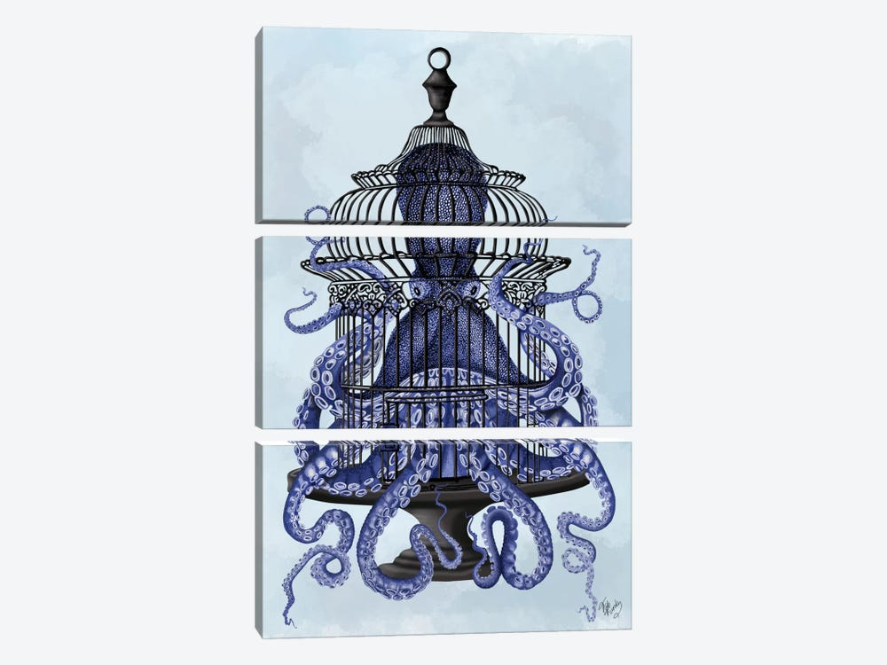 Blue Octopus in Cage by Fab Funky 3-piece Art Print