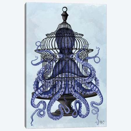 Blue Octopus in Cage Canvas Print #FNK530} by Fab Funky Canvas Artwork
