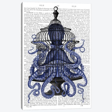 Blue Octopus in Cage, Print BG Canvas Print #FNK531} by Fab Funky Canvas Art