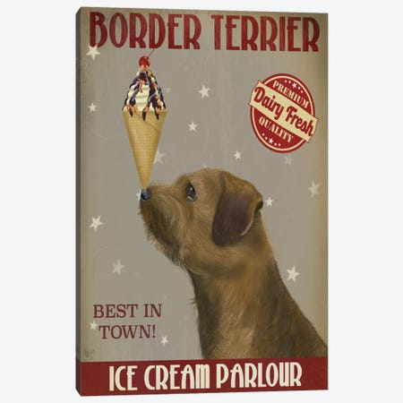 Border Terrier Ice Cream Parlour Canvas Print #FNK533} by Fab Funky Canvas Artwork