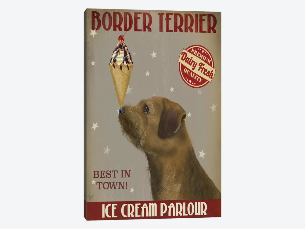 Border Terrier Ice Cream Parlour by Fab Funky 1-piece Canvas Art