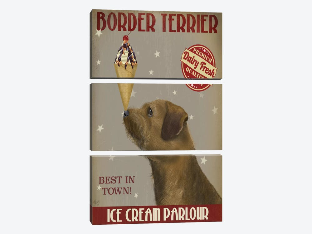 Border Terrier Ice Cream Parlour by Fab Funky 3-piece Canvas Artwork