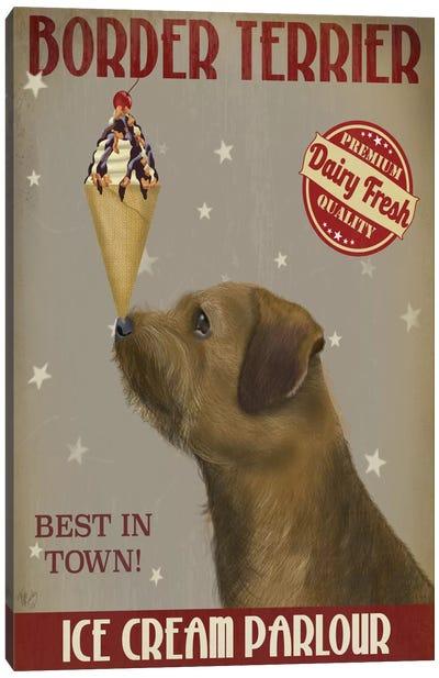 Border Terrier Ice Cream Parlour Canvas Art Print
