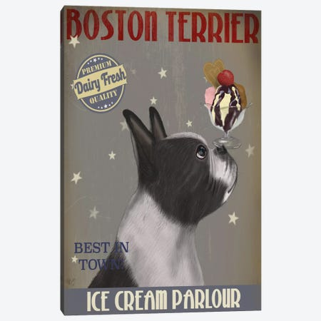 Boston Terrier Ice Cream Parlour Canvas Print #FNK535} by Fab Funky Canvas Print