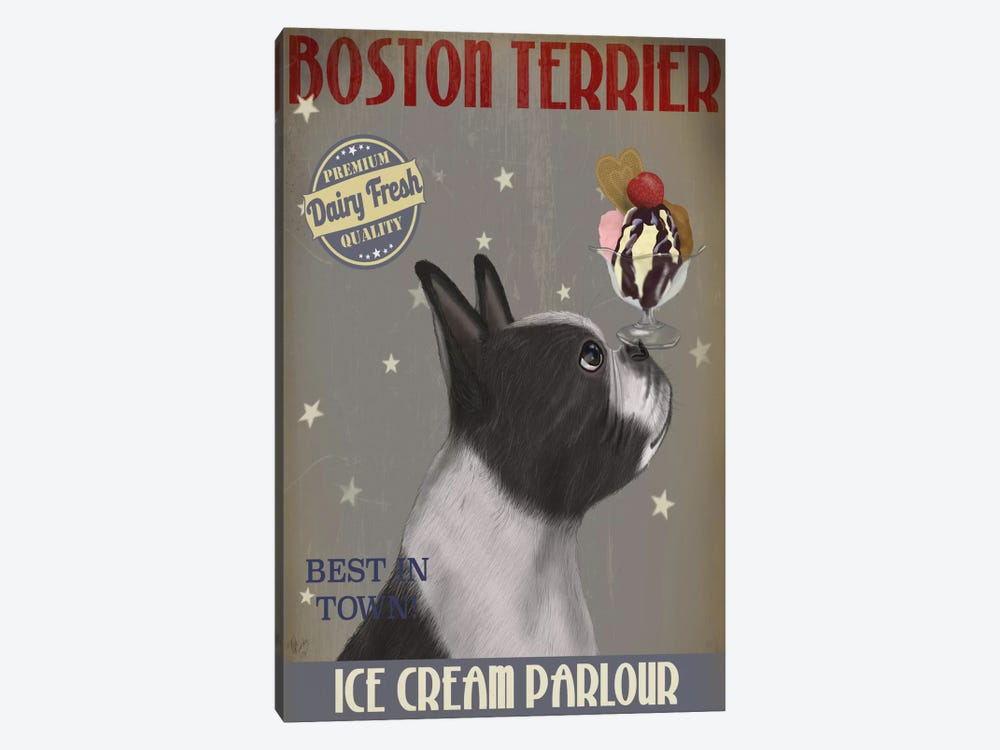 Boston Terrier Ice Cream Parlour by Fab Funky 1-piece Canvas Wall Art