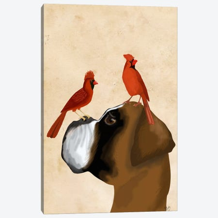 Boxer and Red Cardinals Canvas Print #FNK537} by Fab Funky Canvas Print
