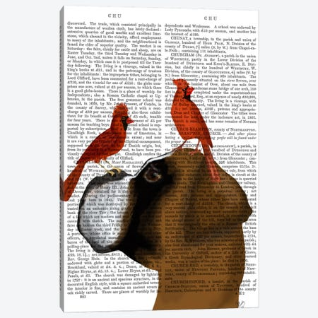 Boxer and Red Cardinals, Print BG Canvas Print #FNK538} by Fab Funky Canvas Artwork