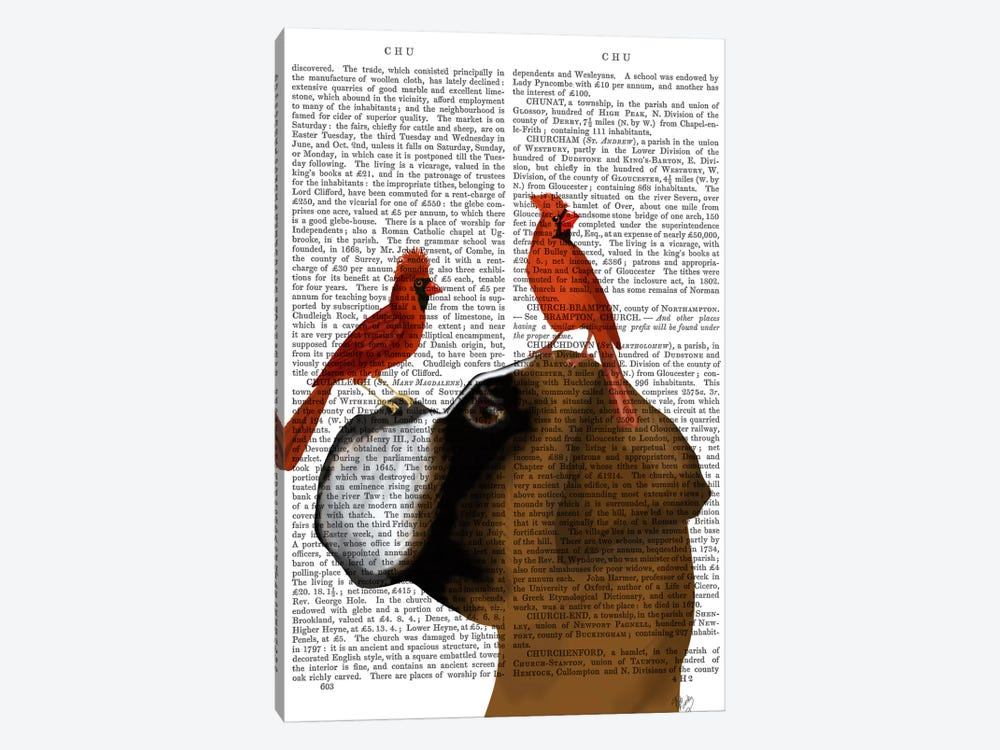 Boxer and Red Cardinals, Print BG by Fab Funky 1-piece Art Print