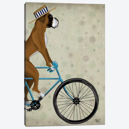 Boxer on Bicycle Canvas Print #FNK541} by Fab Funky Canvas Art Print