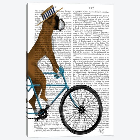 Boxer on Bicycle, Print BG Canvas Print #FNK542} by Fab Funky Art Print