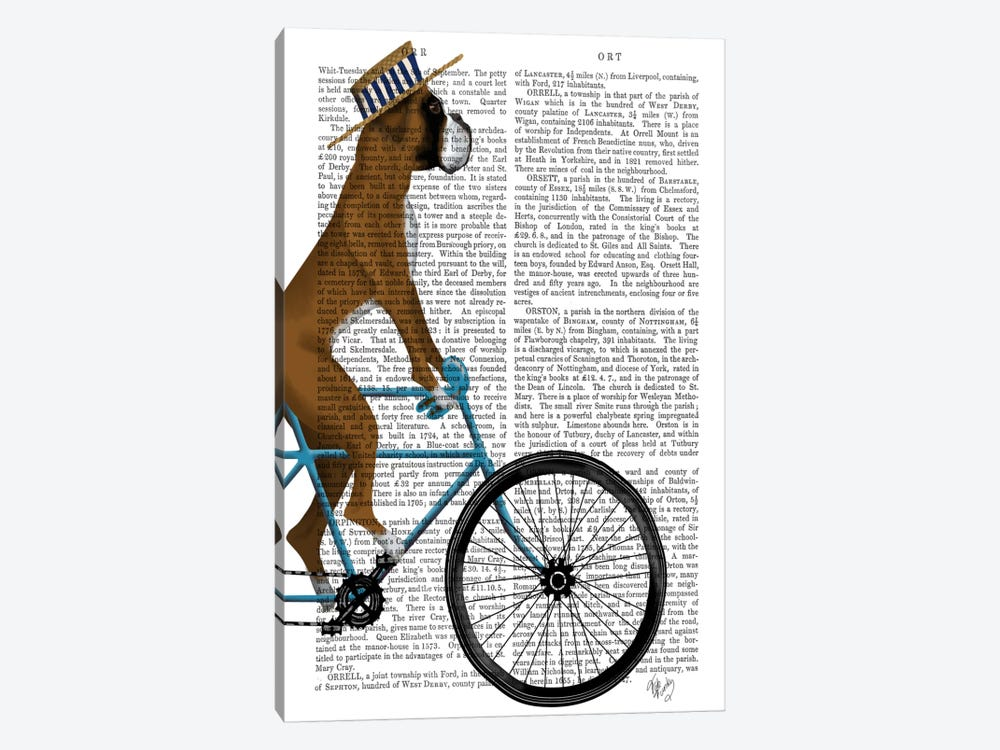Boxer on Bicycle, Print BG by Fab Funky 1-piece Canvas Artwork