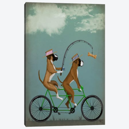 Boxer Tandem Canvas Print #FNK543} by Fab Funky Canvas Art Print