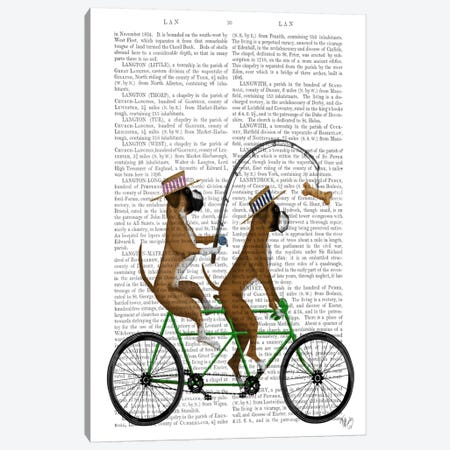 Boxer Tandem, Print BG Canvas Print #FNK544} by Fab Funky Canvas Artwork