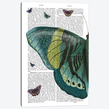 Butterfly in Turquoise and Yellow a Canvas Print #FNK549} by Fab Funky Canvas Print