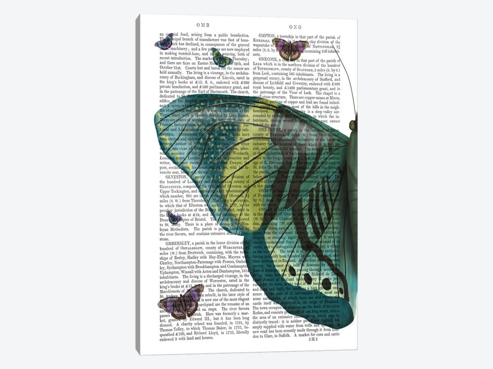 Butterfly in Turquoise and Yellow a by Fab Funky 1-piece Canvas Art Print