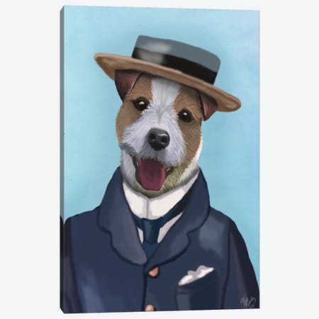 Jack Russell In Boater Canvas Print #FNK54} by Fab Funky Canvas Print