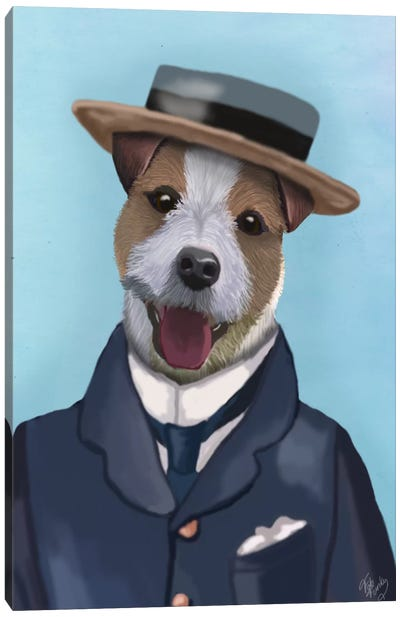 Jack Russell In Boater Canvas Print #FNK54