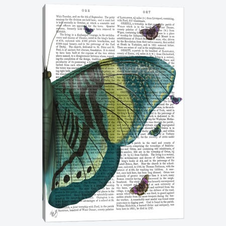Butterfly in Turquoise and Yellow b Canvas Print #FNK550} by Fab Funky Canvas Wall Art